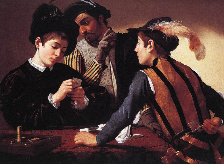 The Cardsharps by Caravaggio - or is it