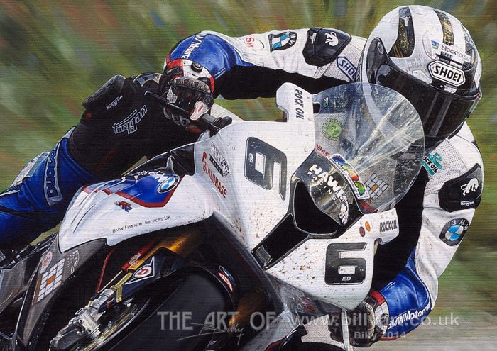 Michael Dunlop BMW 2014 Isle of Man TT oil painting detail by Billy