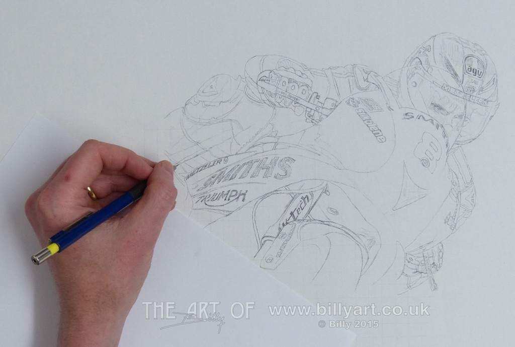 Guy Martin on the Smiths Triumph at the 2015 TT. Getting the pencil line down on th canvas.