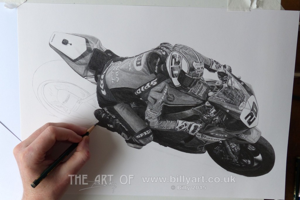 Jenny Tinmouth pencil drawing WIP riding the 2015 Honda BSB Fireblade