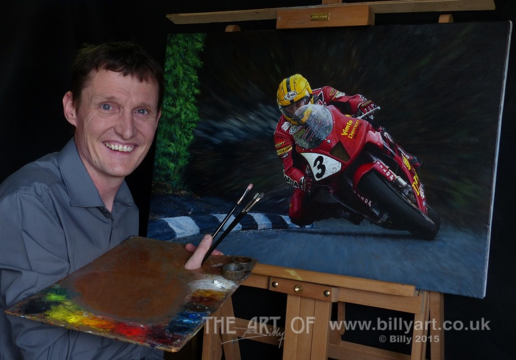 Billy the Artist with the original oil painting of Joey Dunlop riding the Demon Vimto Honda VTR SP1 in the 2000 Formula One TT