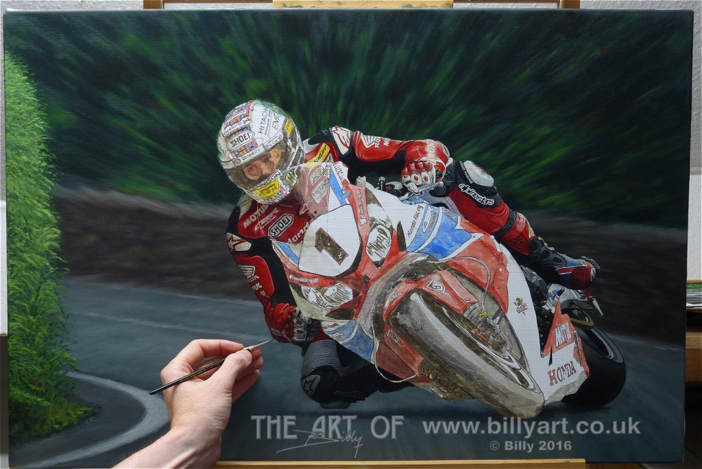 John McGuinness 2015 TT oil painting by Billy WIP 4-8-16