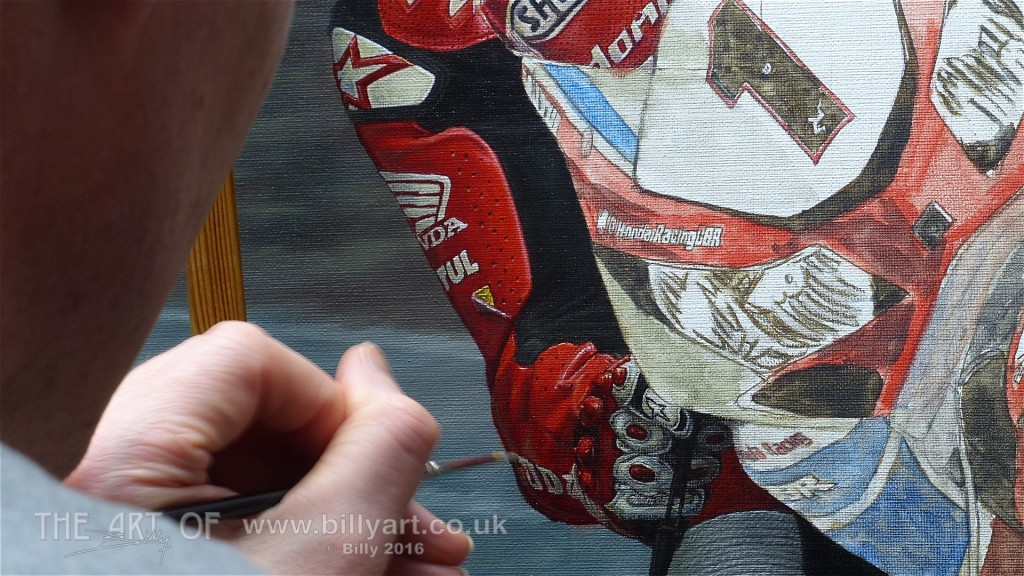 John McGuinness 2015 TT oil painting by Billy WIP 4-8-16 time-lapse file