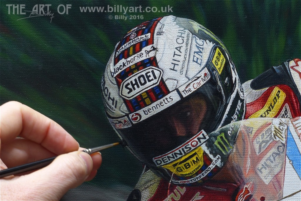John McGuinness 2015 TT Shoei Crash Helmet oil painting detail by Billy