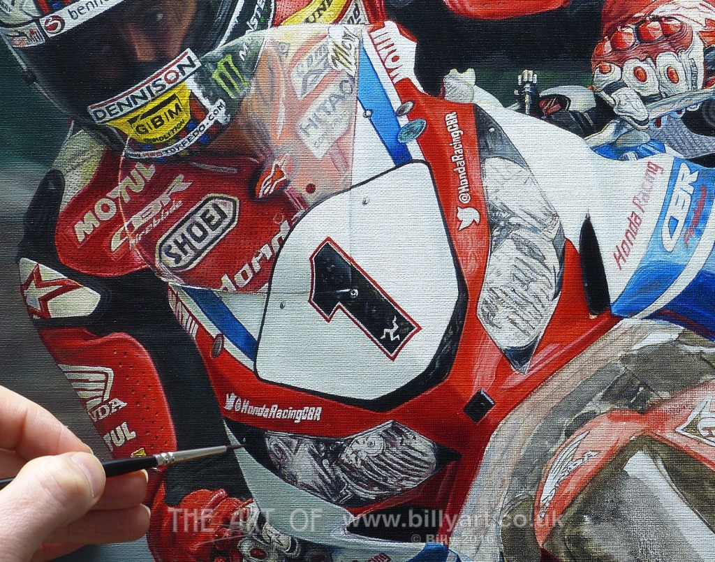 John McGuinness Honda Fireblade fairing TT Oil Painting WIP update by Billy