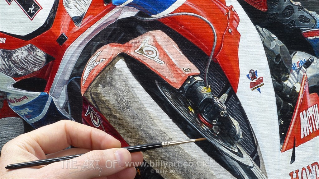 K-Tech Suspension and brake disc on John McGuinness TT oil painting by Billy