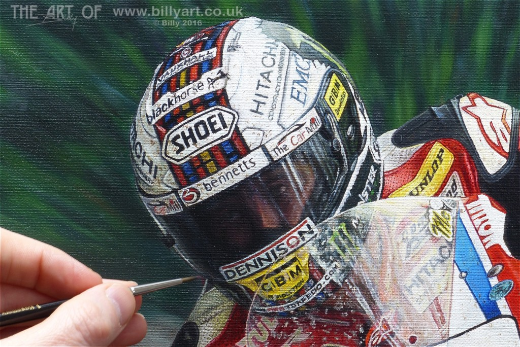 John McGuinness 2015 Isle of Man TT Crash Helmet oil painting by Billy