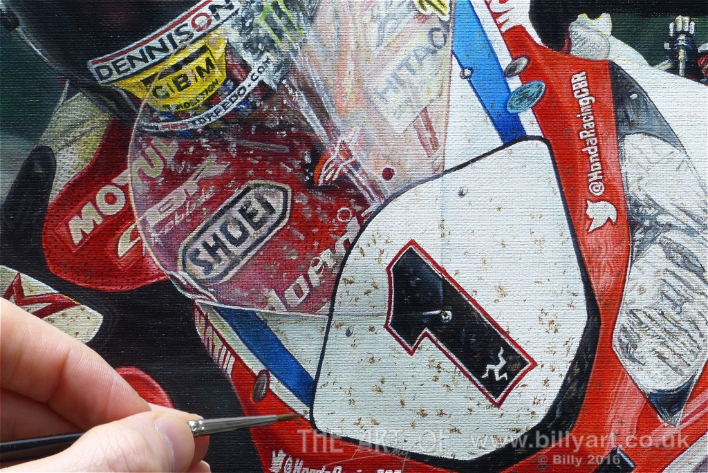Painting the Manx Flies on John McGuinness 2015 Senior TT Oil Painting by Billy