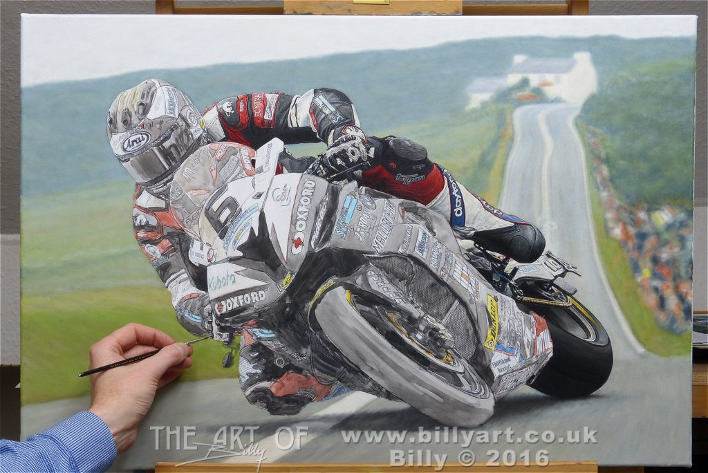 Michael Dunlop 2016 Senior TT oil painting work in progress by Billy