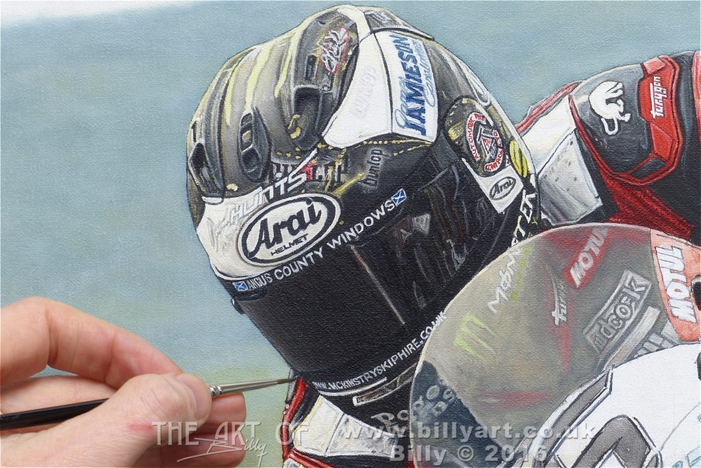 Michael Dunlop's Arai Helmet Detail from the 2016 Senior TT oil painting by Billy