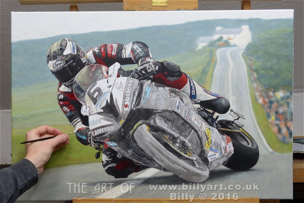 Michael Dunlop 2016 TT oil painting WIP update. Art by Billy.