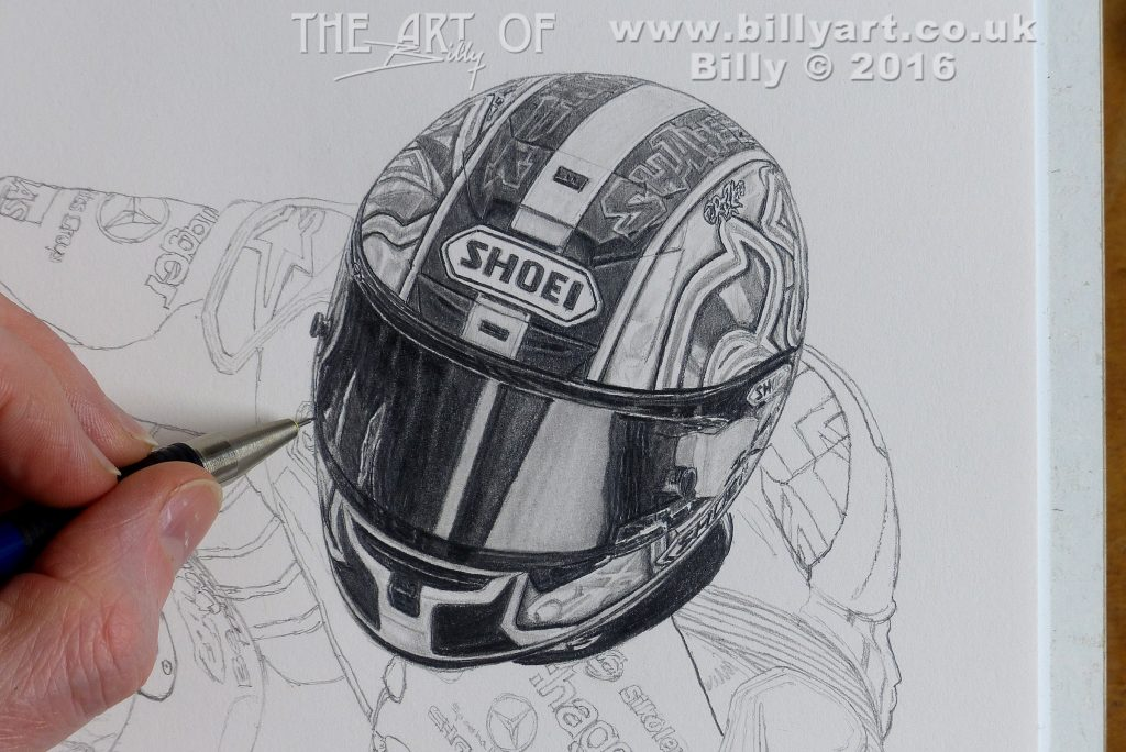 Billy's drawing of Shane Shakey Byrne's 2016 BSB Shoei Crash Helmet