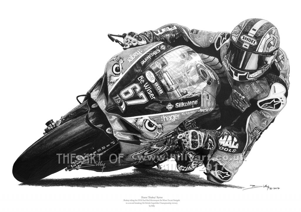 Shane 'Shakey' Byrne 2016 BSB Champion one the PBM Be Wiser Ducati Panigale drawing by Billy
