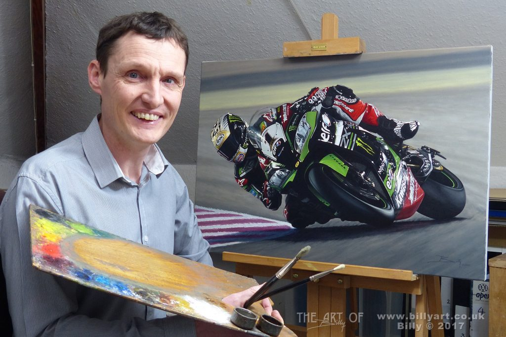 Billy the Artist with the finished Jonathan Rea 2016 World Superbike Champion oil on linen canvas painting commissioned by Craig Watson, UK Sales Director, for Kawasaki UK