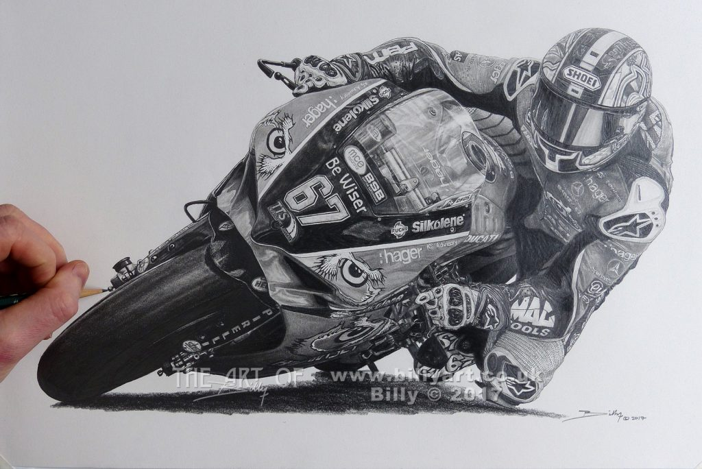 The finished drawing of 2016 BSB Champion Shane 'Shakey' Byrne by Billy