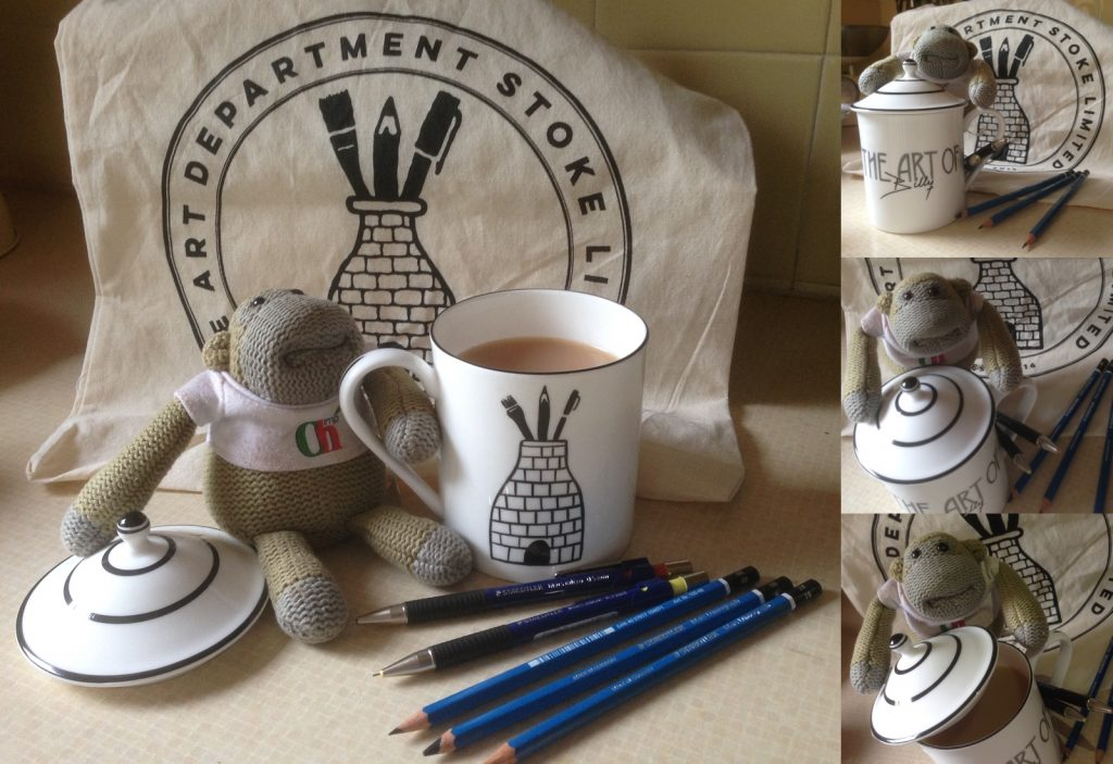 PG Tips Monkey showing off my new Emma Bailey Ceramics Fine Bone China hand painted The Art Dept Stoke LTD mug along with my new Staedtler Pencils.