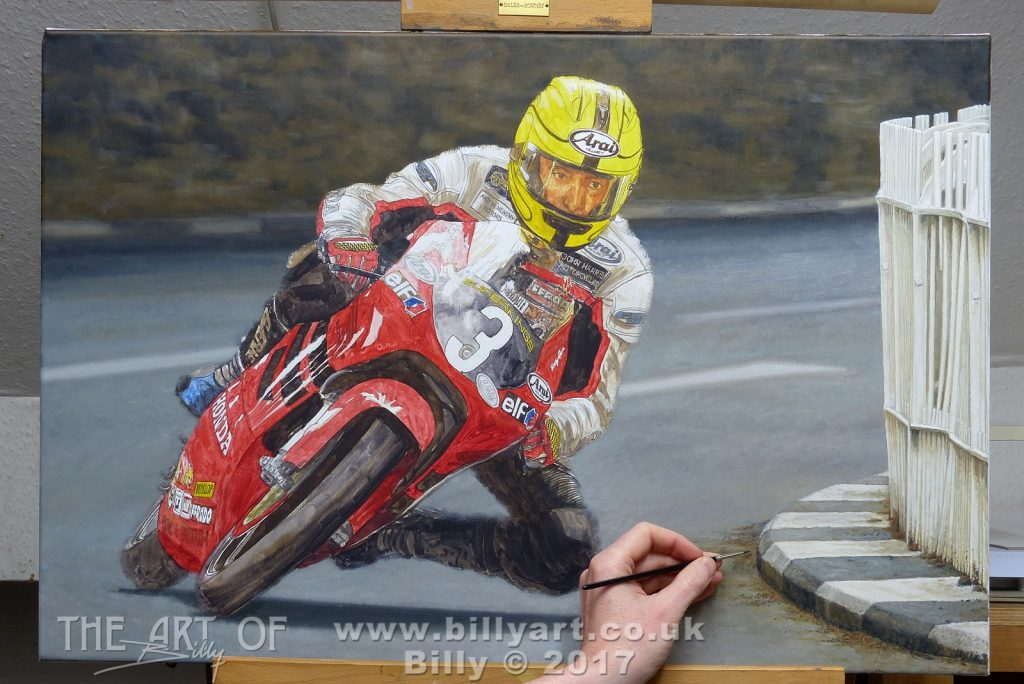 Joey Dunlop 2000 Ultra Lightweight TT oil painting by Billy. WIP Braddan Bridge railings complete.