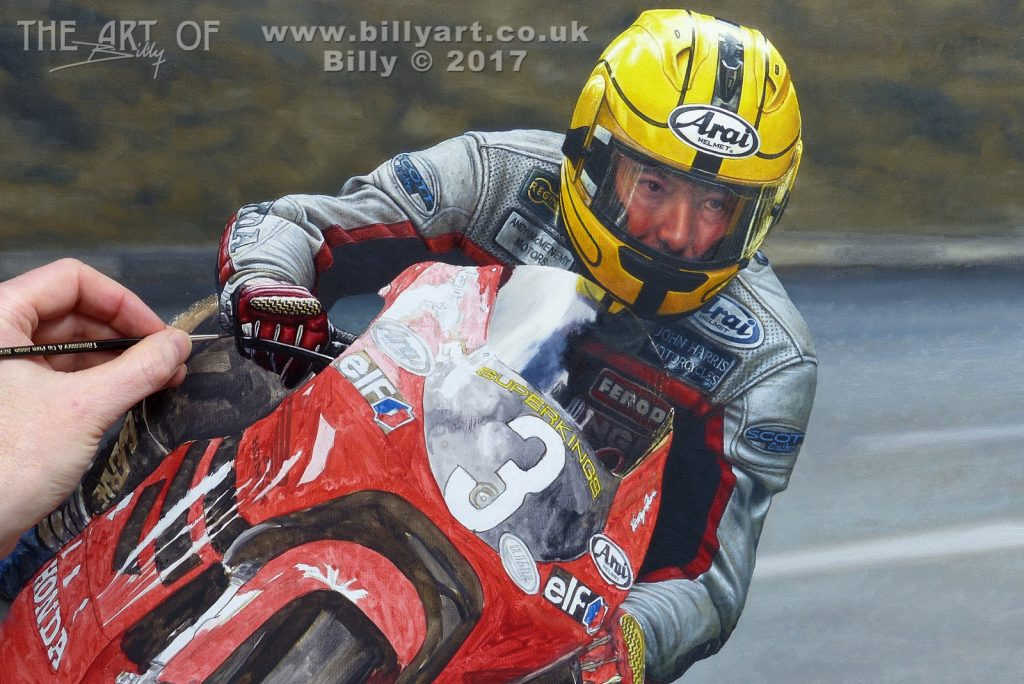 Detail of Joey Dunlop 2000 Ultra-Lightweight 125 TT oil painting work in progress by Billy