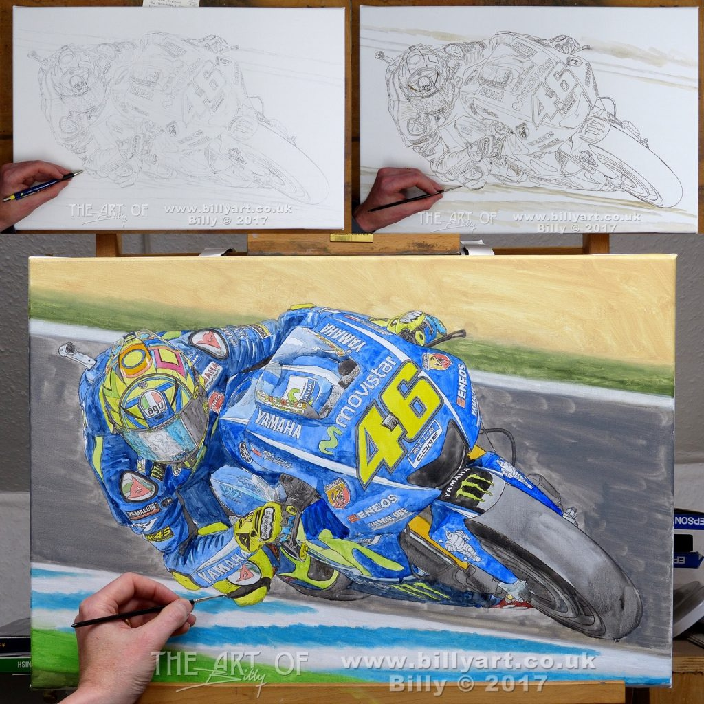 Valentino Rossi 2017 Yamaha YZR M1 MotoGP oil painting by Billy WIP 1